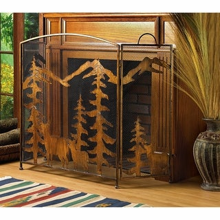 Rustic Mountain Fireplace Screen