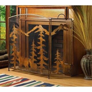 Rustic Mountain Fireplace Screen