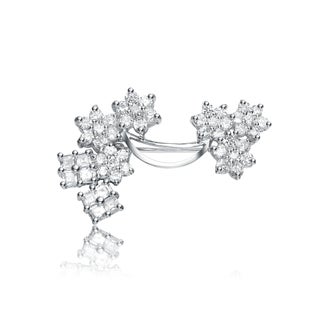 Collette Z Sterling Silver Cubic Zirconia Flower Boquet Pin