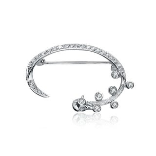 Collette Z Sterling Silver Cubic Zirconia Flower Vine Pin