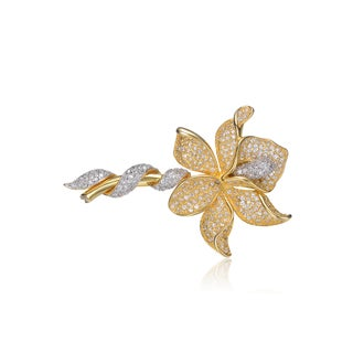 Collette Z Sterling Silver Gold Plated Cubic Zirconia Flower Pin