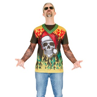 Heavy Metal Ugly Christmas Sweater with Tattoo Sleeves