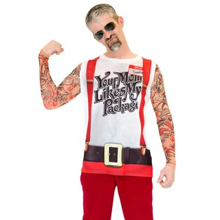 Ugly Christmas Suspenders Shirt with Tattoo Sleeves