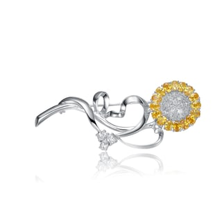 Collette Z Sterling Silver Cubic Zirconia Daisy Pin