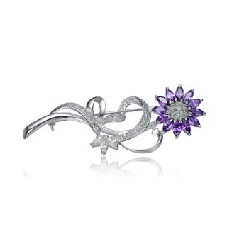 Collette Z Sterling Silver purple Cubic Zirconia Daisy Pin