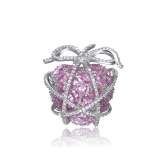 Collette Z Sterling Silver Pink Cubic Zirconia Wrapped Heart