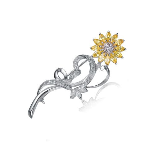 Collette Z Sterling Silver with Rhodium Plated Yellow Marquise Cubic Zirconia Daisy Pin