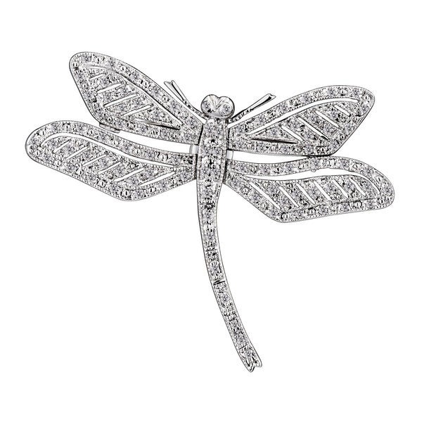 Collette Z Sterling Silver Cubic Zirconia Dragonfly Pin