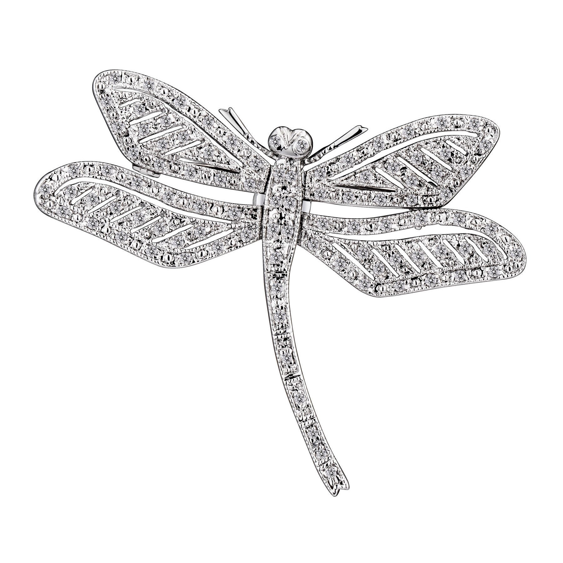 Collette Z Sterling Silver Cubic Zirconia Dragonfly Pin (...