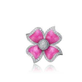 Collette Z Sterling Silver Pink Cubic Zirconia Petal Pin