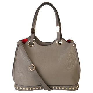 Rimen and Co. Pebble Leather Studded Double Rolled Handles Tote