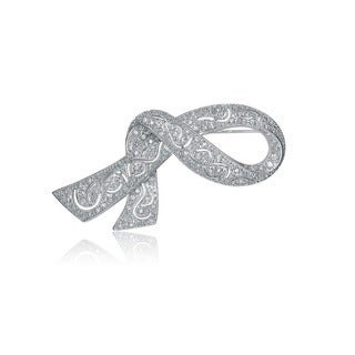 Collette Z Sterling Silver Cubic Zirconia Ribbon Pin