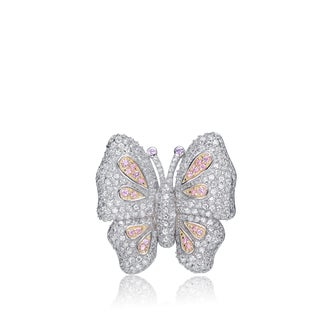 Collette Z Sterling Silver Cubic Zirconia Pink Butterfly Pin