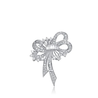 Collette Z Sterling Silver Cubic Zirconia Twisted Ribbon Pin