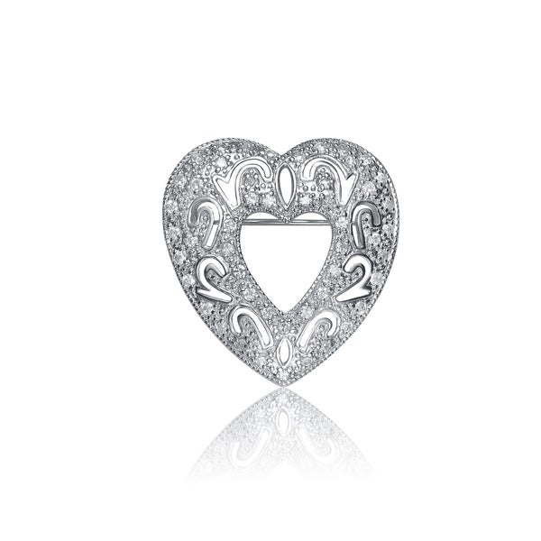 Collette Z Sterling Silver Cubic Zirconia Concentric Heart Pin