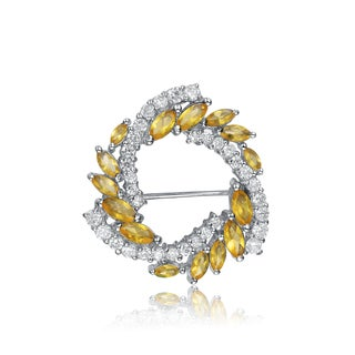 Collette Z Sterling Silver Yellow And White Cubic Zirconia Wreath Pin