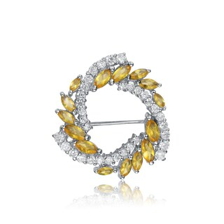 Collette Z Sterling Silver Yellow And White Cubic Zirconia Wreath Pin|https://ak1.ostkcdn.com/images/products/11045772/P18058439.jpg?_ostk_perf_=percv&impolicy=medium