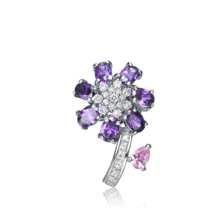 Collette Z Sterling Silver Violet And Pink Cubic Zirconia Flower Pin