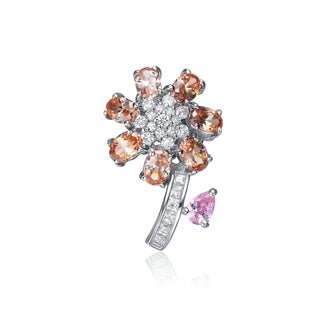 Collette Z Sterling Silver Champagne And Pink Cubic Zirconia Flower Pin