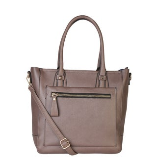 Rimen and Co. Pu Leather Solid Multi-compartment and Top Zipper Panel Handbag