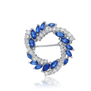 Collette Z Sterling Silver Blue And White Cubic Zirconia Wreath Pin