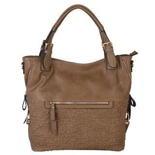 Diophy PU Leather Reptile Texture Bottom Panel Zippered Pockets Hobo Handbag