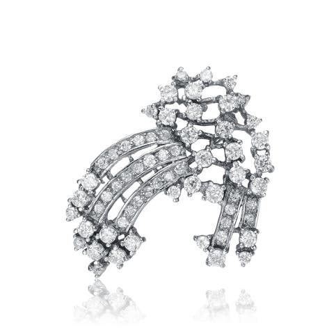 Collette Z Sterling Silver Cubic Zirconia Zazzle Pin