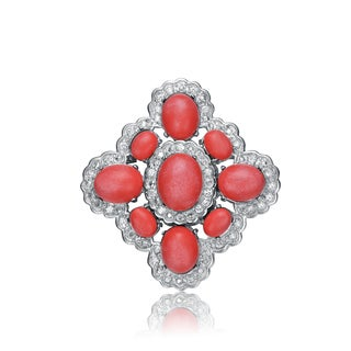 Collette Z Sterling Silver Pink And White Cubic Zirconia Flower Pin