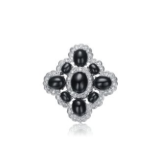 Collette Z Sterling Silver black And White Cubic Zirconia Flower Pin