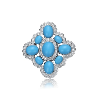 Collette Z Sterling Silver light blue And White Cubic Zirconia Flower Pin