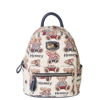 Henney Bear Small Mini Backpack Stripe Bear Handbag