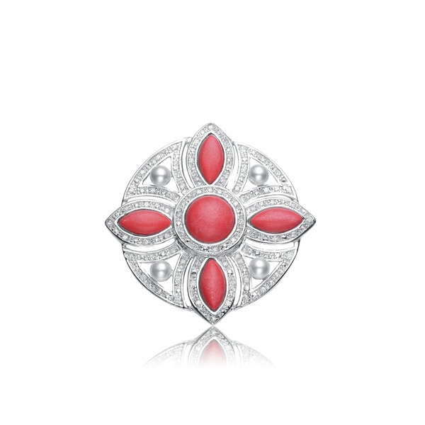 Collette Z Sterling Silver Pink And White Cubic Zirconia Cross Flower Pin
