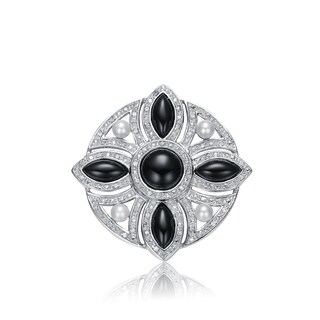 Collette Z Sterling Silver Black And White Cubic Zirconia Cross Flower Pin