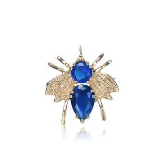 Collette Z Sterling Silver Blue And Light Pink Cubic Zirconia Bug Pin
