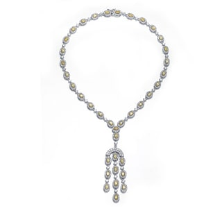 Collette Z Sterling Silver Clear Cubic Zirconia Three Strand Necklace