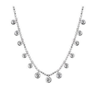 Collette Z Sterling Silver Clear Cubic Zirconia Hanging Solitaire Necklace