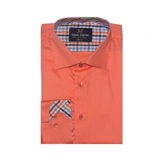 Azaro Uomo Men's Fred Orange Button Down