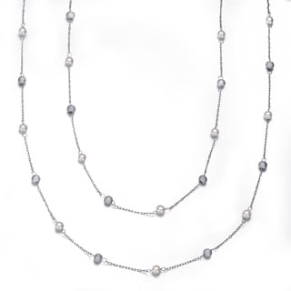 Collette Z Sterling Silver Clear Cubic Zirconia Two Strand Necklace
