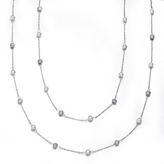 Collette Z Sterling Silver Clear Cubic Zirconia Two Strand Necklace - White