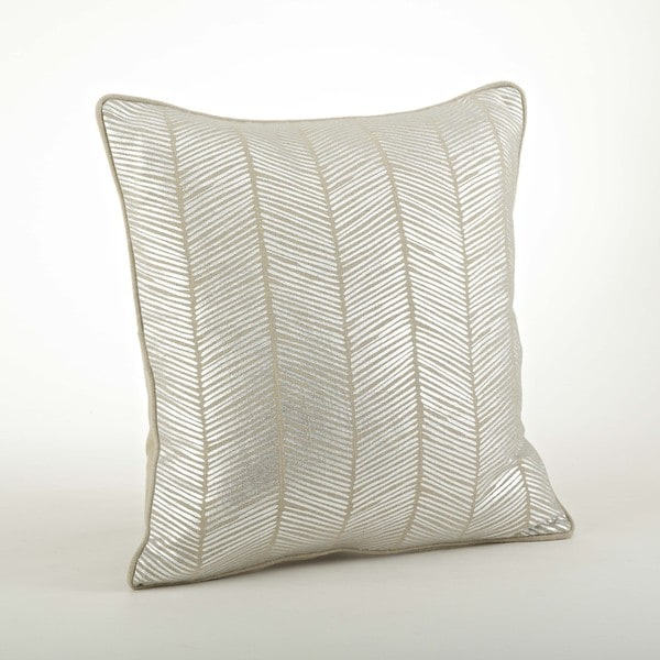 Metallic Herringbone Design 20 inch Down Filled Throw Pillow