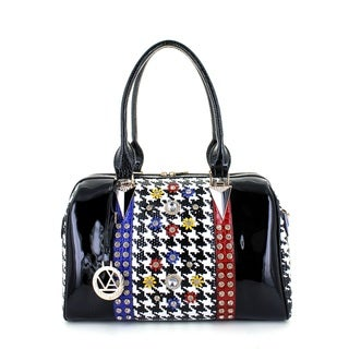 LANY Houndstooth Luxe Boston Bag