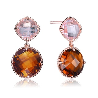 Collette Z Rose Gold Overlay Clear and Brown Cubic Zirconia Drop Earrings