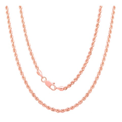 Sterling Essentials Italian Silver with Rose Gold Plate 3 mm Laser Rope Chain (16-30 Inch ) - Pink