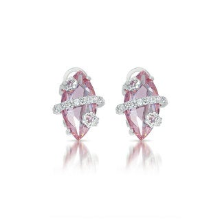 Collette Z Sterling Silver Pink and Clear Cubic Zirconia Wrap Earrings