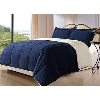 eLuxurySupply Sherpa Down Alternative 3-piece Comforter Set