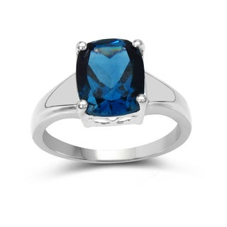 Malaika Sterling Silver 3 1/2ct TGW London Blue Topaz Ring