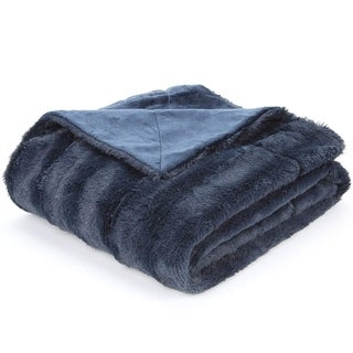 Cheer Collection Faux Fur to Microplush Reversible Throw Blanket (50x60 - Blue)