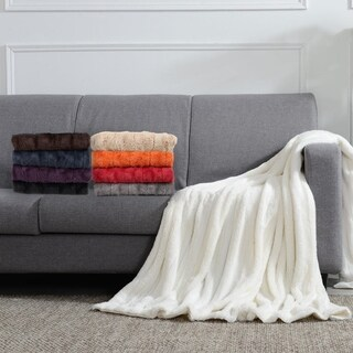 Cheer Collection Faux Fur to Microplush Reversible Throw Blanket (More options available)