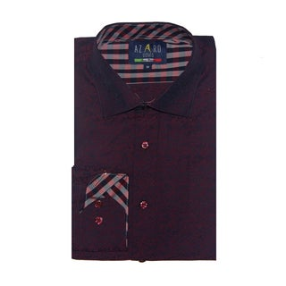 Azaro Uomo Men's Bonton Burgundy Button Down
