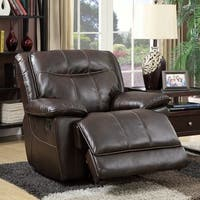 Furniture of America Loffman Brown Bonded Leather Recliner